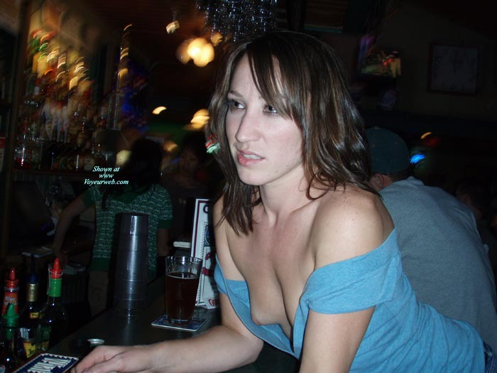 Braless Bar - Brunette Hair, Flashing, Long Hair, Small Tits , Downblouse Special, Shy Girl Showing Titties, Nipple Slip, Sideblouse Shot, Breast Exposed At Bar, Long Brunette Hair, Public Nudity, Blue Shirt, Nice Small Tits, Blue Open Top, Flashing At Bar