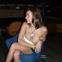 Wife Nipple Slip - Flashing , A Little Drunk, Sitting On A Chair, Flashing Her Breasts In A Bar