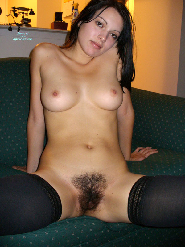 Naked lady with black pussy hair this