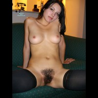Black Hair Pussy - Black Hair, Erect Nipples, Long Hair, Long Legs, Spread Legs, Stockings, Looking At The Camera, Naked Girl, Nude Amateur