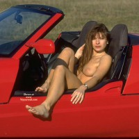 Naked Girl In Red BMW Z1 - Brown Hair, Dark Hair, Long Hair, Red Hair, Sexy Legs