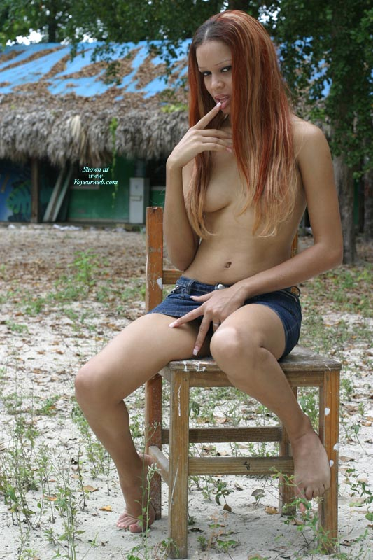 Pic #1 - Sexy Exotic Women - Long Hair, Red Hair, Topless , Finger In Mouth, Hand At Crotch, Denim Mini Skirt, Tits Covered By Hair, Hair Covering Nipples, Short Skirt, Bare Feet, Long Thin Body, Topless Amazon Babe, Long Red Hair