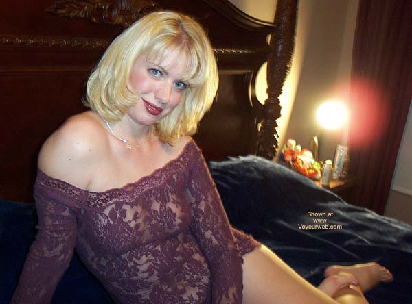 Pic #1 - Blonde Girl On Her Bed - Blonde Hair, Milf, Sexy Lingerie , Blonde Girl On Her Bed, Seethrough, Lingerie, Blonde Hair Blue Eyes, Milf, Purple Lace See Through Outfit