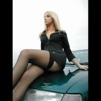 Girl On A Car - Black Dress, Blonde Hair, Long Legs, Stockings