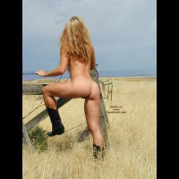 Nude Girl In A Field - Blonde Hair, Boots, Rear View