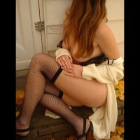 Curvy Woman On Stair - Stockings