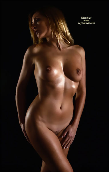Artistic Nude With Oil - Hairy Bush, Small Tits, Naked Girl, Nude Amateur , Bronze Goddess, Professional Nude Pose, Slender Body, Artistic On Black, Standing Up, Perfect Body, Tight Body, Classic Pose, Artistic Body, Lightly Oiled Body, Fully Nude, Nice Natural Breasts