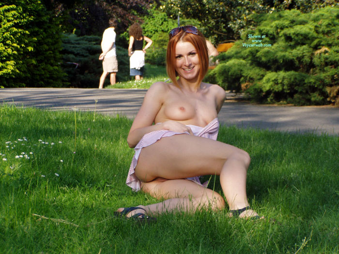 Flashing In The Park - Exhibitionist, Flashing, Red Hair, Small Tits , Reclining Red Head, Pink Nipples, Public Nudity, Little Areolas, Park Flash, Park Exhibitionist, Flash Tits And Pussy, Smiling Into Camera
