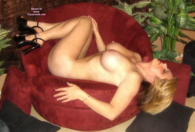Pic #1 - Big Breast - Blonde Hair, Erect Nipples, Heels, Naked Girl, Nude Amateur, Nude Wife , Black Platform Heels, Gold Ankle Chain, Nude Lying Sideways On Velvet Chair, Lying On Her Back, Black Slapper Shoes