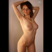 Frontal Nude - Big Tits, Naked Girl, Nude Amateur , Classic Nude, Hands Behind Head, Pearl Necklace Earrings, Comfortable With Being Nude, Nude Glamour Shot