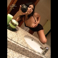 Brunette Self Photo In Bathroom Exposing Breast Knee On Counter - Brunette Hair, Firm Tits, Self Shot, Small Tits, Topless