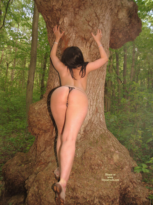 Pic #1 - Nude Amateur Model Leaning Against A Tree - Long Legs, Round Ass, Naked Girl, Nude Amateur, Sexy Ass , Sexy Toned Back, Black Crochet Pantys, Woman Hips, Long Shapley Legs, Rear Shot, Muscular Legs, Heart Shaped Ass