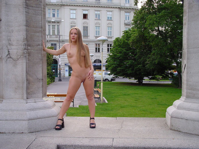Pic #1 - Naked Girl Standing In Public - Blonde Hair, Exhibitionist, Long Hair, Shaved Pussy, Small Breasts, Naked Girl, Nude Amateur , Black Platform Shoes, Public Show, All Naked In Public, Hand On Thigh, Nude Exhibitionist, Clunky Black Shoes