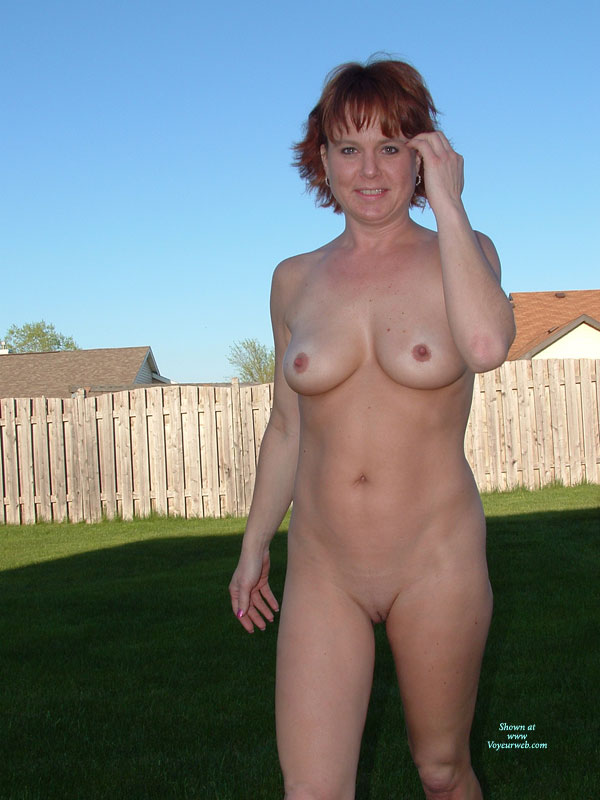 Pic #1 - Naked MILF In Backyard - Milf, Red Hair, Shaved Pussy, Naked Girl, Nude Amateur, Small Areolas , Bare Pussy, Short Straight Red Hair, Nude In Backyard, Nude With Privacy Fence, Small Dark Areolas, Naked Girl Standing In Backyard, Short Hair, Cupcake Breasts & Picket Fence, Pink Fingernails