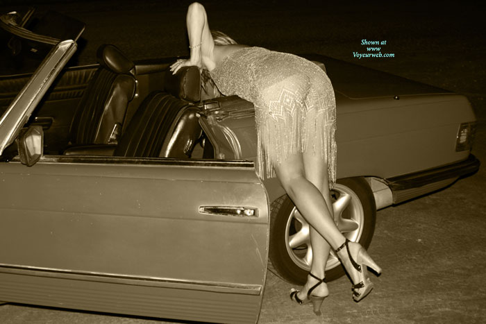 Pic #1 - Black And White Sexy Girl - Heels, Long Legs , Bent Over Convertible Car, Bent Over A Convertable, Ankle Strap High Heels, Shapely Ass And Legs, Classic Bend Over, See Thru, Nice Legs, Bending Over
