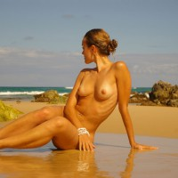 Nude Girlfriend On Beach - Blonde Hair, Long Hair, Long Legs, Tan Lines, Naked Girl, Nude Amateur