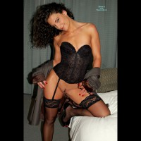Black Lace Corset - Black Hair, Heels, Landing Strip, Stockings