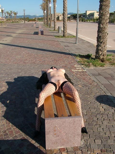 Pic #1 - Nude Lying On Park Bench - Big Tits, Erect Nipples, Nude In Public, Stockings, Naked Girl, Nude Amateur , Frontal Nude, Fishnet Stockings, Pussy In Public, Nude In Public On A Bench, Outdoor Laying Straddling Bench, Black Fishnet Stockings, Street Spreading