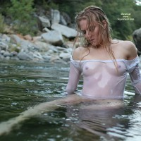 Transparent Top In The Stream - Blonde Hair, Hard Nipple, See Through, Naked Girl, Nude Amateur , Sexy Mermaid, Skinny Dipping, Nature Shot, Girl Chilling In Lake, See Thru Shirt, Wet Clothes, Nude In Water, Wet Girl, Small But Perky