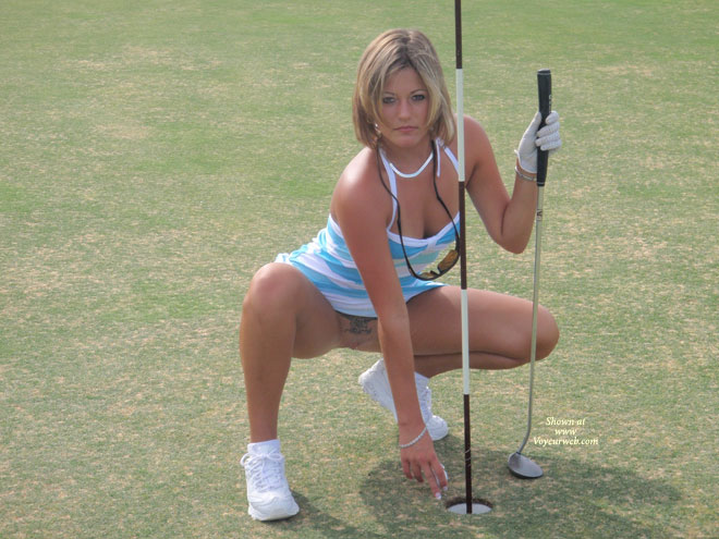 Golf Flash - Blonde Hair, Shaved Pussy , Blue - White Cotton Sun Dress, Shaved Golfer, Outdoor Sundress No Panties, Smooth Pussy With Tatoo Top, Sports Shot, Short Blonde Hair, Upskirt On Putting Green, Pantiless Pussy On The Green, Pubic Tattoo, Squating Exposing Pussy