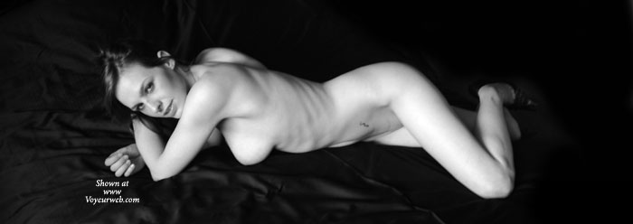 Pic #1 - Nude Wife Sexy Black And White Pose - Long Legs, Looking At The Camera, Naked Girl, Nude Amateur, Nude Wife , Artistic On Black, Arms Crossed, Sexy Smile, Lying Down, On Bed, Lying On Black Satin Sheets, Classic Black And White, Long Lean Legs