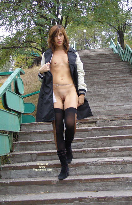 Pic #1 - Flashing Tits And Pussy - Brown Hair, Exhibitionist, Flashing, Shaved Pussy, Small Breasts, Small Tits, Stockings , Very Small Breasts, Thin Physique, Skinny Girl, Open Coat For Flashing, Tiny Tits, Flashing In A Park, Freckles, Standing Full Frontal, Shoulder Length Brown Hair