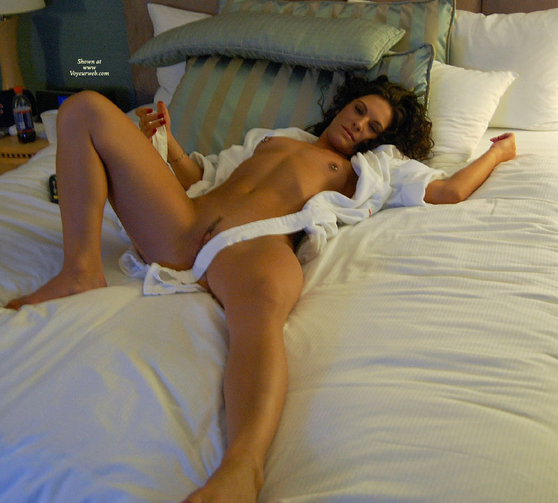 Pic #1 - Nude Lying Down Awaiting Sex - Brown Hair, Dark Hair, Landing Strip, Pierced Nipples, Small Tits, Spread Legs, Tan Lines, Trimmed Pussy, Naked Girl, Nude Amateur , Legs Spread Apart, Breakfast In Bed, Tanned Body, Curly Dark Brown Hair, No Tan Lines, Showing Some Pussy Lip, Laying Nude On Bed, Nude On Bed