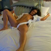 Nude Lying Down Awaiting Sex - Brown Hair, Dark Hair, Landing Strip, Pierced Nipples, Small Tits, Spread Legs, Tan Lines, Trimmed Pussy, Naked Girl, Nude Amateur
