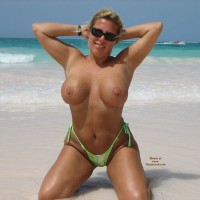 Busty Blonde Topless Girl Kneeling On Shore - Blonde Hair, Huge Tits, Topless, Naked Girl, Nude Amateur
