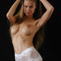 White Lace Panties - Brunette Hair, Sexy Panties
