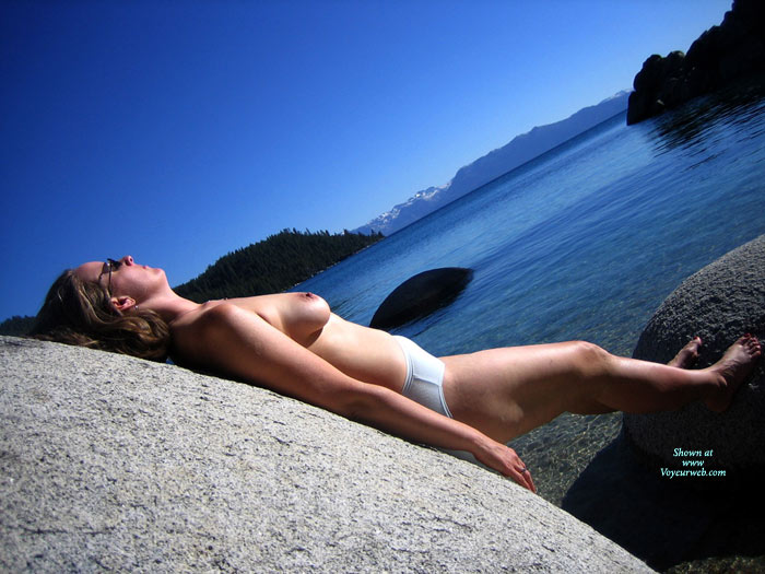 Pic #1 - View With A Thrill - Topless , Blue Lake White Skin, Scenic Background, White Panties, Cold Water Hard Nips, Topless Sunbathing, Lake Tits, The Geometrics Of This Photo Are Awesome, Sunbathing On The Rocks, Mountain Lake