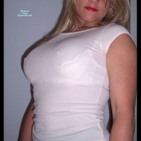 Erect Nipples Under Sheer Top - Big Tits, Blonde Hair, Hard Nipple, Long Hair