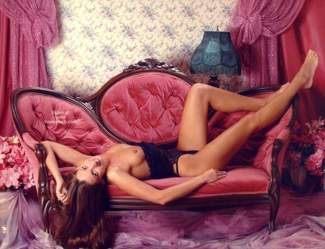 Pic #1 - Victoria S Secret , Victoria S Secret, Lying On Pink Victorian Sofa