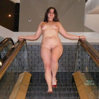 Full Frontal Nude Descending Escalator - Hairy Bush, Heels, Natural Tits, Small Tits, Naked Girl, Nude Amateur