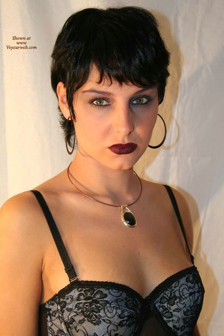 Pic #1 - Sexy Face - Black Hair, Sexy Face , Short Straight Black Hair, Hazel Eyes, Hooped Ear Rings, And Necklace, Green Eyes, Evening Make Up, Dark Lip Stick, Full Lips, Caucasian, Grey Silk Basque