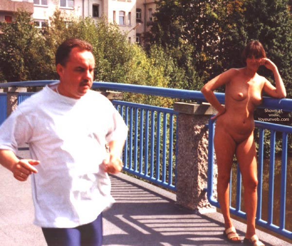 Pic #1 - A Running Guy Ignoring Her , A Running Guy Ignoring Her, Full Nude On Bridge, Nude In Public