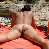 Girl Reading Naked On The Beach - Nude Beach, Round Ass, Beach Voyeur