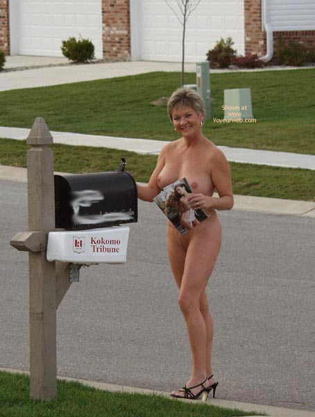 Pic #1 - Going Postal And Nude , Going Postal And Nude, Black Heels Naked On Public Street, Mail Box Female Box, Nude In Public