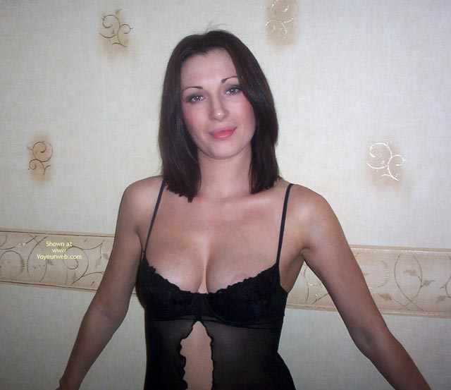 Pic #1 - Smirk On Face - Sexy Lingerie , Smirk On Face, Black Lingerie, Nipple Slip, Looking At Camera