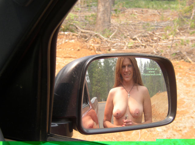 Pic #1 - Boobs In Rear Mirror - Naked Girl, Nude Amateur , Nude In Mirror