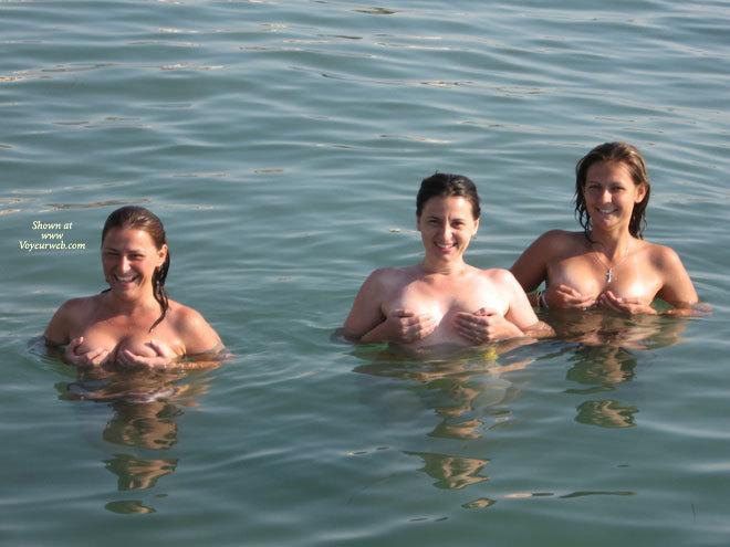 Pic #1 - Three Ladies Up To Their Tits In Water And Hand Cups , Covering Breasts With Hands, Holding Breasts, Pinching Nipples, Hands Covering Breasts, Tits In Water, Standing In Water, 3 Pairs Of Boobs Floating, Six Hands Full Of Boobs, Hand Bras Times 3, Smiling Cuties In The Sea, Holding Breasts