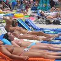 4 Girls Topless Sunbathing - Topless