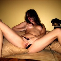 Girlfriend On Bed Playing With Herself - Large Aerolas, Long Legs, Spread Legs