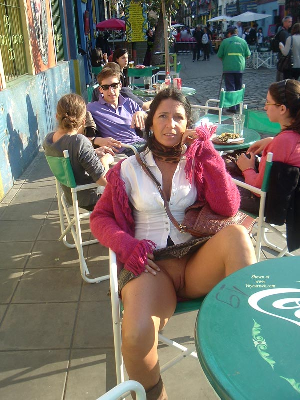 Showing Pussy In Street-cafe