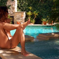 Nude Girl By The Pool - Shaved Pussy, Spread Legs, Bald Pussy, Hairless Pussy, Naked Girl, Nude Amateur , Twat Shot, Sitting Outdoors With Legs Spread, Poolside Pussy, Pierced Clit, Pink Pussy By Blue Pool