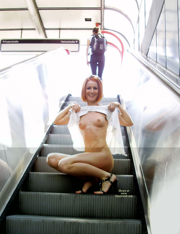 Flashing On Escalator - Flashing, Red Hair, Small Breasts , Tight, Athletic Body, Athletic Redhead, Little Tits, Henna Hair, Nice Smile, Flashing In Shopping Center, Red Head