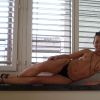 Topless By The Window - Brown Hair, Long Hair, Long Legs, Small Breasts, Small Tits, Topless, Small Areolas