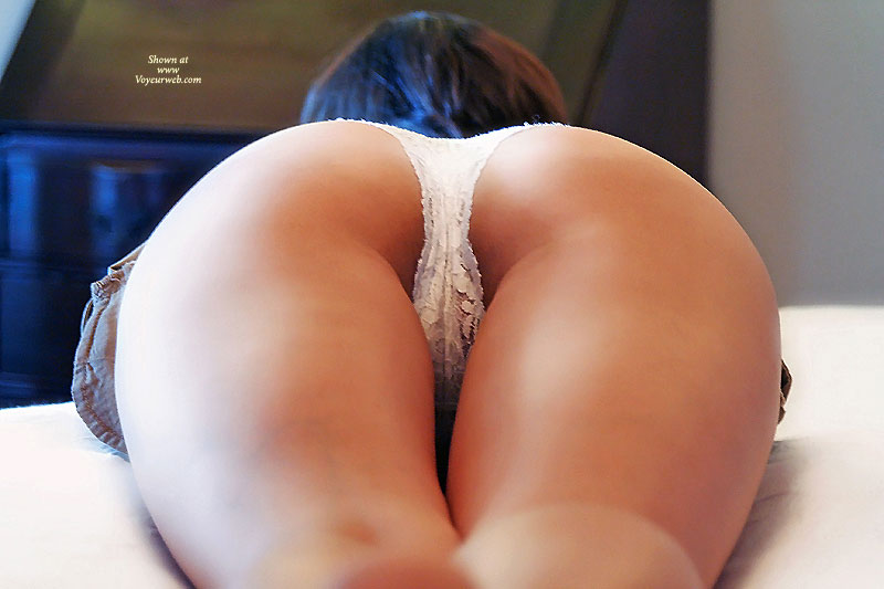 Pic #1 - White Thong On A Pefect Ass - Round Ass, Sexy Ass , Backside View, White Lace Panties, Slender Thighs, Crotch Shot, Hot Ass And Thighs Shot, Up Shot White Lace, Heart Shaped Ass