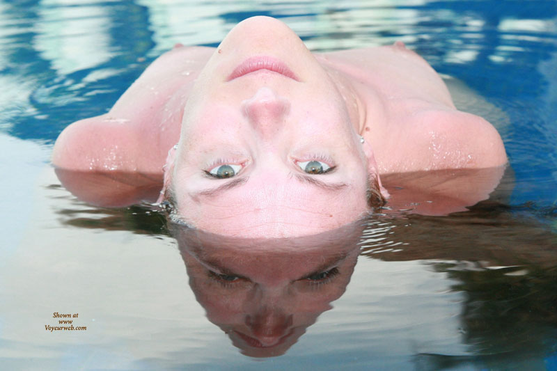 Pic #1 - Cool Reflection With Erect Nipples - Looking At The Camera , Looking Directly To Camera, Bent Over Backwards, Laying Back In Water Looking Over Head With Eyes Locked On Camera, Green Eyes, Mirror Image, Nipples Pointing Toward The Sky, Water Reflection, Reflection In Water
