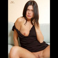 Brunette With Green Eyes Showing One Brest - Brunette Hair, Landing Strip, Shaved Pussy, Spread Legs